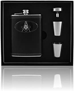 Mason Masonic Leather Wrap 8oz Stainless Steel Flask, Funnel and Shot Glass