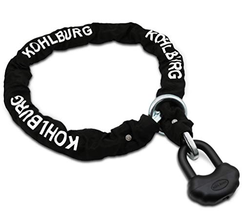KOHLBURG massive security lock for motorbike with 13mm Titanium-steel chain & 140cm length - 6.4 Kg chain lock with highest security level 10plus of 10 - extremely secure motorcycle lock & e-bike lock