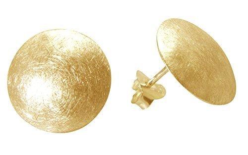 Scheiben Ohrstecker hochwertige Goldschmiedequalität (Sterling Silber 925 vergoldet) Durchmesser 16 mm, Scheiben Ohrringe, Damen Ohrringe Ohrstecker