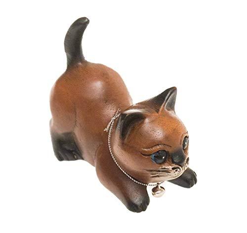 ROMBOL Katze in Spielhaltung, Holz, Holzfigur, Deko, Dekoration, Dekofigur, Holzdeko, Skulptur, braun