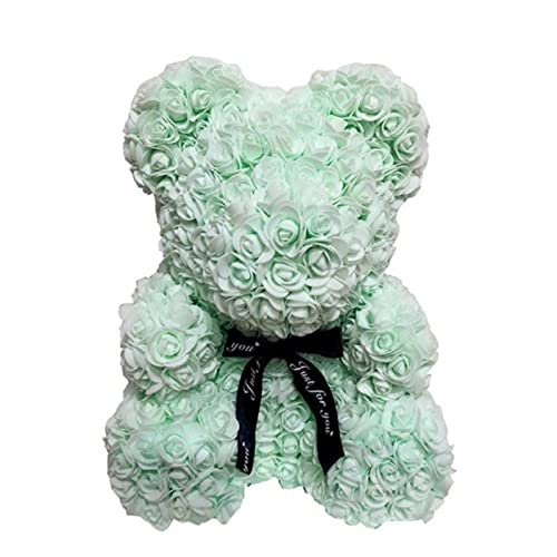 40Cm Foam Rose Bear With Box Rose Artificial Flower Gift For Girlfriends Mother And Mother'S Day Wife Valentine'S Day Gift Home Decor,Light Green