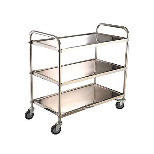 XUSHEN-HU Carro de almacenamiento de cocina de acero inoxidable de 3 capas, carro de servicio grande con ruedas de cocina, hotel, restaurante (con 2 ruedas de bloqueo) cocina