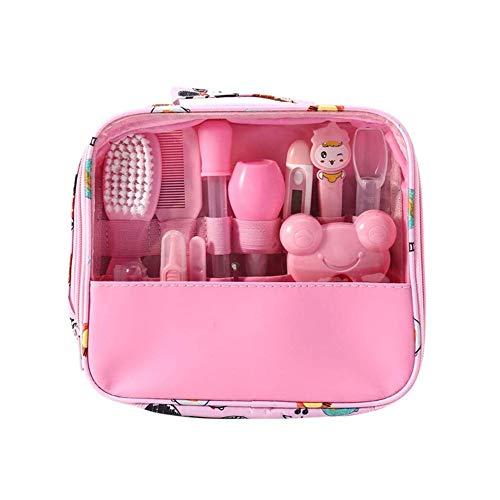 Kit de cuidado de bebé Moonvvin 13pcs / set Conjunto de aseo para recién nacidos Accesorios esenciales para el cuidado de la salud para viajes en el hogar Uso con bolsa de transporte (Rosa)