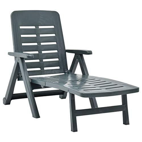 vidaXL Klappliege Klappbar Witterungsbeständig Sonnenliege Gartenliege Strandliege Liege Relaxliege Liegestuhl Gartenmöbel Kunststoff Grün