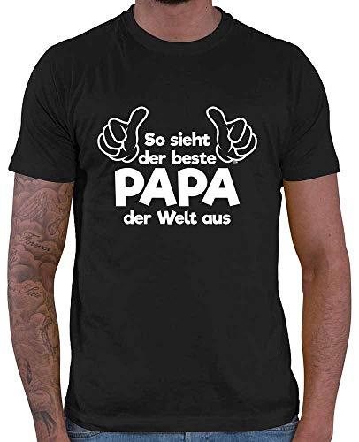 HARIZ Herren T-Shirt So Sieht Der Beste Papa Der Welt Aus Papa Geburtstag Plus Geschenkkarte Schwarz XL