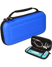 TECHGEAR Switch Lite hoes, harde beschermende draagtas voor reizen en opbergen Case Cover Ontworpen voor Nintendo Switch Lite, 8 slots voor gamekaarten + accessoires Hoesje [BLAUW]