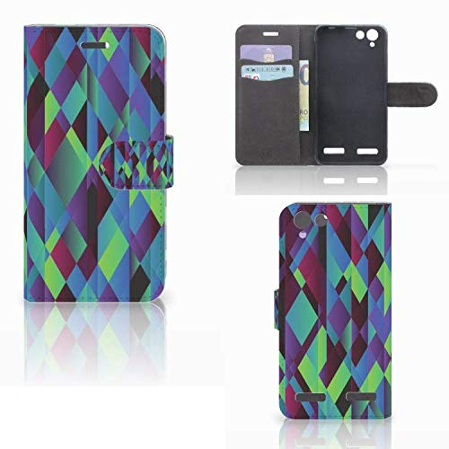 B2Ctelecom Kartenfach Tasche für Lenovo Vibe K5 Handyhüllen Abstrakt Grün Blau