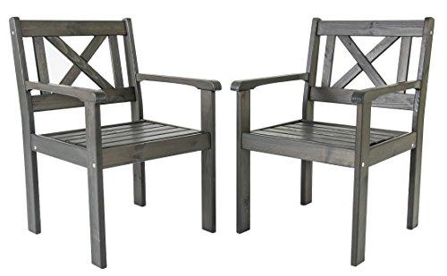Ambientehome, EVJE, tuinstoel, stoel, massief hout, tuinmeubelen, 2-delige set grijs