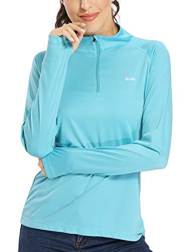 CQC Womens Fleece Thermal Long Sleeve Running Shirt Mock Neck Compression Workout Yoga Tops