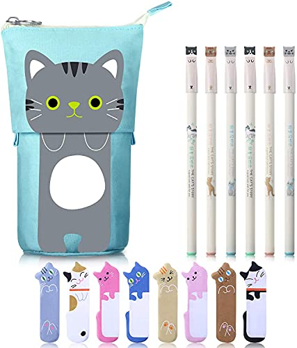 Weimay 6 Pcs Colorful Cats Design 0.38 mm Black Gel Ink Pens Cartoon Cute Cat Stationery Set, Includes 1 Canvas Cat Telescopic Pencil Pouch Bag, 240 Cute Cat Notes Page Flags Index Tabs