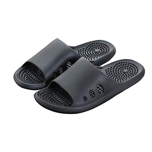 ECSWP MSGWNHLPSB Masaje Zapatillas Hombres Mujeres algodón y Lino Aumenta los Zapatos de Interior, Exterior Antideslizantes Gruesos Deslizadores Inferiores (Color : Black 39-40)
