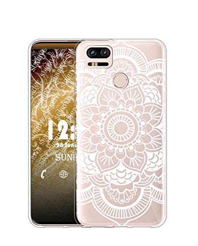 Sunrive Kompatibel mit ASUS ZenFone Zoom S ZE553KL Hülle Silikon, Transparent Handyhülle Schutzhülle Etui Hülle (TPU Blume Weiße 2)+Gratis Universal Eingabestift MEHRWEG