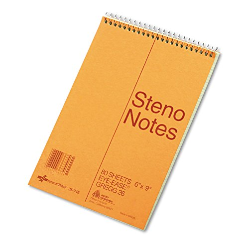 National 36746 Standard Spiral Steno Book Gregg Rule 6 x 9 Green 80 Sheets