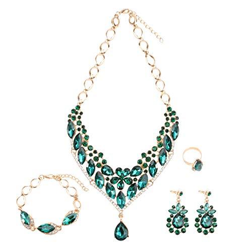 Holibanna Brautschmuck Ohrringe Halskette Armband Ring Set Strass Kristall Brautschmuck für Brautjungfer Frauen Hochzeitskostüm (Grün)
