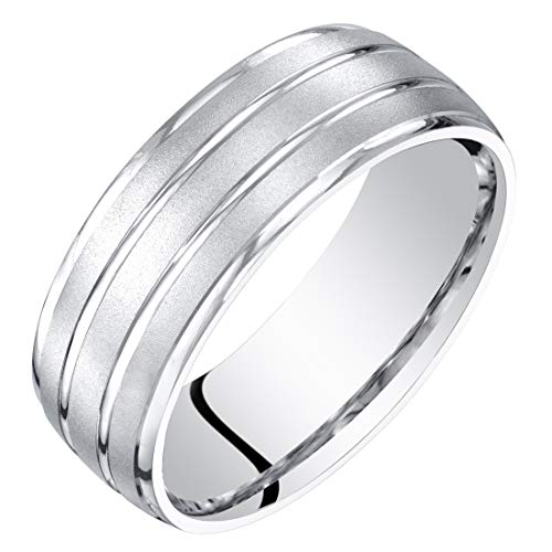 Mens 14K White Gold Wedding Ring Band 7mm Satin Finish Comfort Fit Size 9 14k Gents Wedding Band