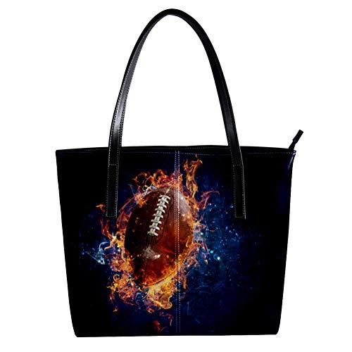 TIZORAX American Football with Fire Damen-Handtasche aus PU-Leder