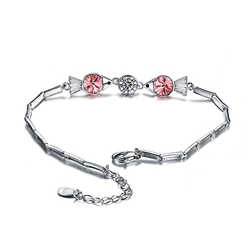 OMZBM Colorful Crystal Bracelet S925 Sterling Silver Kissing Fish Adjustable Hand Chain For Women And Girl,Rosered