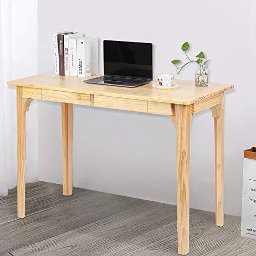GOTOTOP - Escritorio de estudio moderno simple de madera con 2 cajones para la oficina doméstica, 106 x 50 x 76 cm