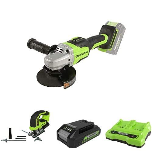 Greenworks Tools Amoladora angular inalámbrico GD24SAG + Sierra de calar sin Cable GD24JS + Batería G24B2 2ª generación + Batería de doble ranura Cargador universal G24X2C
