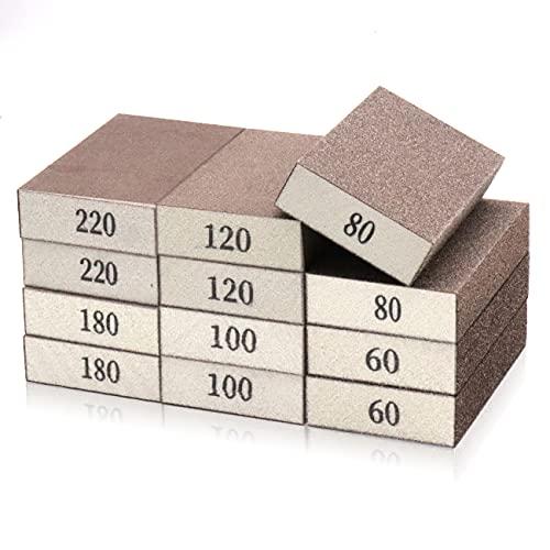 12 Pcs Sanding Sponges,Wet Dry Sanding Block,Coarse Medium Fine Sand Sponge in 60/80/100/120/180/220 Grits for Drywall,Metal Wood Polish,Pot Brush