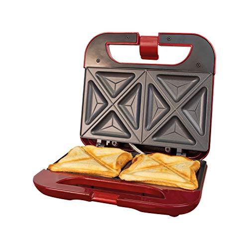 Global Gizmos 35549 Mini-Sandwich-Maker für Toasties, 2 Scheiben, antihaftbeschichtet und leicht zu reinigende Teller, Cool-Touch-Griff und rutschfeste Füße, 22 cm x 21 cm
