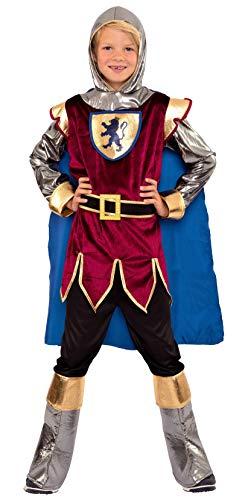 Magicoo Disfraz de caballero para niños de la talla 104 a la 146, color azul, rojo y dorado