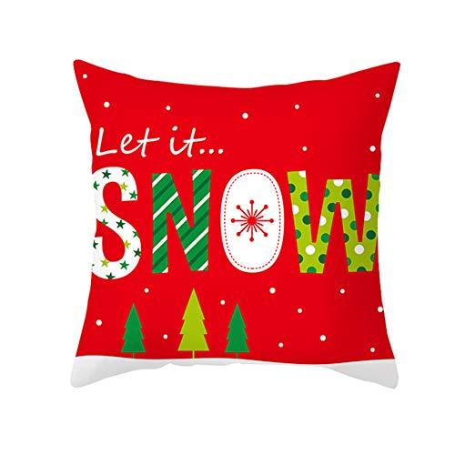 PINBinyee Federa rossa con Babbo Natale e scritta Elk Letter Bow, per decorazione natalizia 2#