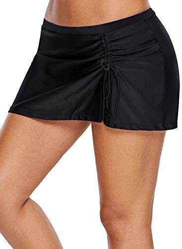 ROSKIKI Damen Schwimmrock mit verstellbaren Bändern, Badeanzug, Unterteil mit Innen-Bikini - Schwarz - XXX-Large