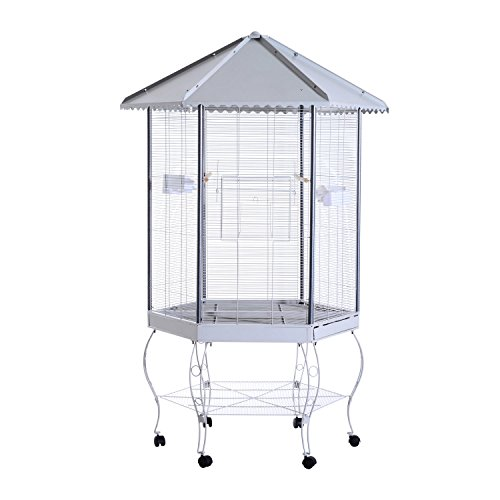 PawHut 44  Hexagon Covered Canopy Portable Aviary Flight Bird Cage With Storage