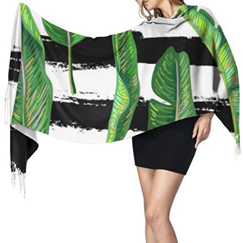 Bufanda de cachemira sin costuras, diseño tropical de hojas de plátano, para mujer, de cachemira, 196 x 68 cm, grande, suave, extra cálida