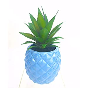 Porcelain Potted Plant Faux Succulent Artificial Pineapple Home Tabletop Office Bathroom Decoration (Light Blue)