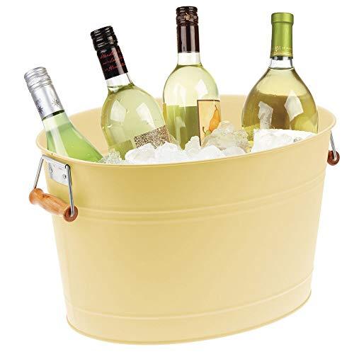 mDesign Champanera Fabricada en Metal – Enfriador de Botellas Decorativo con Asas – Ideal como Cubo para Enfriar Bebidas como Vino, Cerveza, Cava o refrescos – Amarillo Claro