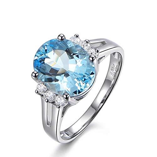 Ubestlove Aquamarine Eternity Ring Womens Rings White Gold 50Th Birthday Gifts For Daughter H 1/2