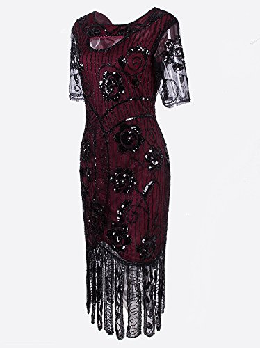 VIJIV Women's Vintage 1920s Style Sequined Beaded Roaring 20s Long Gatsby Flapper Dress with Sleeves for Themed Party, Red X-Large