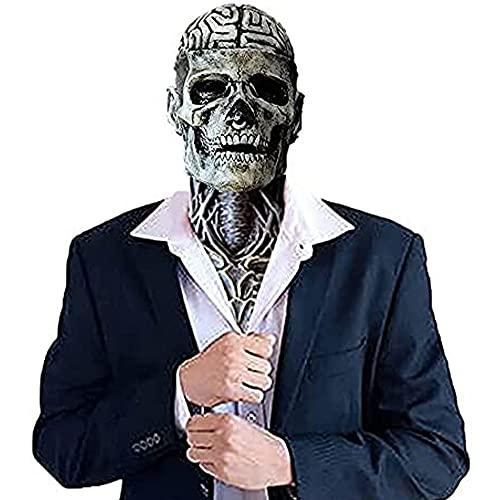 La última Máscara Bioquímica de Esqueleto para 2021, Máscara de Calavera de Halloween,Sombrero Máscara de Calavera de latex Realista,Cabeza Completa Puede Cubrir la Mandíbula Móvil(Black-without Hat)
