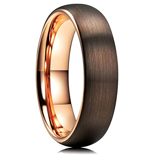 King Will DUO 6mm Dome Brown Tungsten Carbide Wedding Band Ring Rose Gold Inside Comfort Fit 12