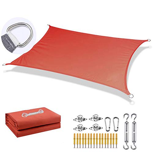 Sun Shade Sail, rectangle shade sail 4m×6m/13ft×19.6ft, 95% Sunscreen Effect, Dustproof and Windproof, with fixing kit - for Outdoor Patio Garden Lawn Pergola Decking,Red