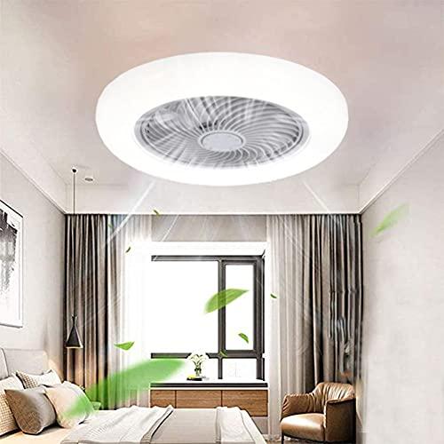 LED Ventiladores para Techo con Lámpara, con Mando a Distancia Regulable 3000K~6000K Ventilador Invisible de Techo con Iluminación para Dormitorio Balcón Sala de Estudio, Ultra Silencioso, Ø50CM