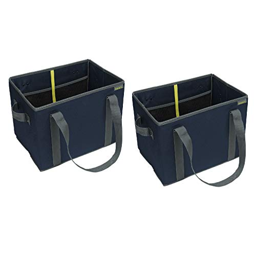 meori Faltbare Einkaufstasche, Marineblau, faltbar, wiederverwendbar, Einkaufstasche, Picknick, 2 Stück