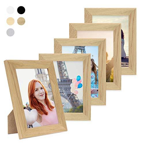 PHOTOLINI 5er Bilderrahmen-Set 15x20 cm Basic Collection, Modern, Eiche, Massivholz, inklusive Zubehör/Bilderrahmen-Collage