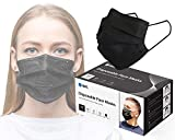 Reli. Black Face Mask (50 Masks) Disposable Black Mask, 3 PLY Protection with Filter Layer - Breathable, Elastic Ear Loop Mask - Face Protection, 50 Pack Pcs (Black)