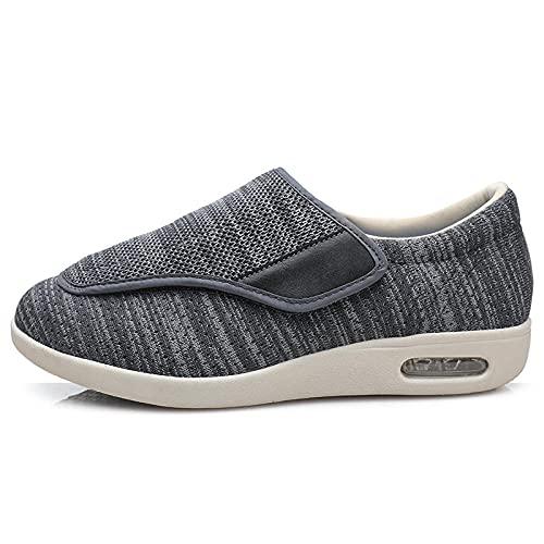 CCSSWW Calzado para Personas DiabéTicas,Zapatos DiabéTicos para Hombre Ajustable-Gris Oscuro_49,Pantuflas Anchas De Espuma ViscoeláStica