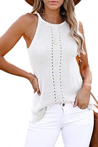Yidarton Damen Ärmellose Blusentop Sexy Bunt Bluse Tanktop Oberteile Camisole Tank Tops Elegant Weste Tunika für Frauen (B-Weiß, M)