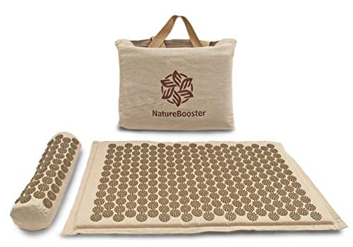 NatureBooster Premium Coconut Fiber Acupressure Mat and Exclusive Cervical Pillow Set for Back Pain Sciatica Neck Pain Insomnia and Migraine Relief
