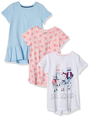 Spotted Zebra 3-Pack Short-Sleeve Tunic Tops Camiseta, Multicolor (Girl Squad), [ Talla del Fabricante: Small 6-7