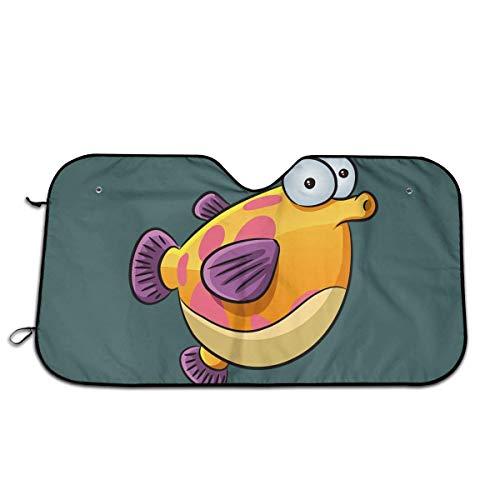 XCNGG Cartoon Fish2 Car Sun Shade Wind Dog, Carcasa frontal para ventana de coche, parasol, mantiene el vehículo fresco, reflector de calor UV, visera con ventosas, universal para camionetas SUV, mini