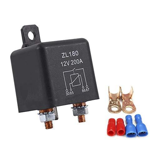 IWILCS batería de relé, relé de corte de batería, carga máxima 12V / 200A, para automóviles, camiones, automóviles, vehículos pesados, excavadoras, camiones, con accesorios, negro