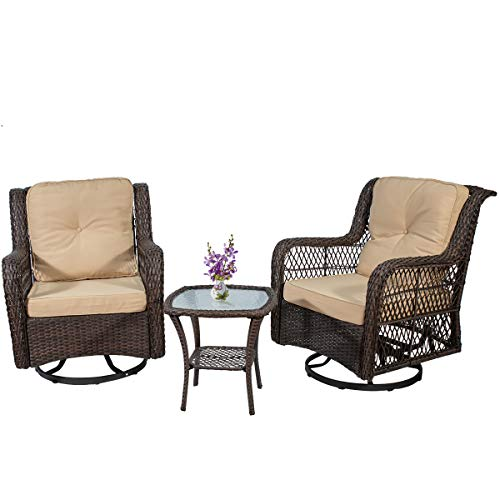 PD Master 3 Piece Patio Wicker Rattan Bistro Furniture Set, 2 Swivel Rocking Cushioned Chairs with Glass Coffee Table,Outdoor Rattan Conversation Sets