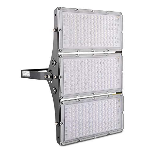 Foco LED exterior de 300 W, blanco cálido, 24.000 lúmenes, muy brillante, para exteriores, IP65, resistente al agua, foco exterior LED ultrafino, adecuado para garaje, campo deportivo, patio o jardín
