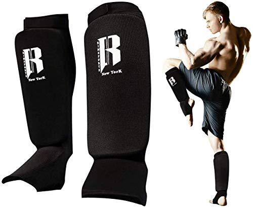 RIMSports Muay Thai Shin Guards Kickboxing - Premium MMA Shin Guards and Shin Pads - Ideal Shin Guard for MMA, Wrestling, Sparring, Muay Thai, Kickboxing & Karate (Black, L/XL)